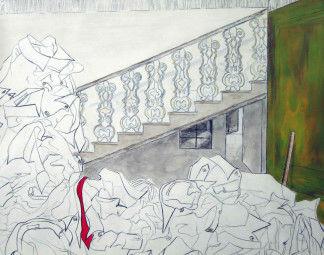 Tekening, acryl en houtskool, 110 x 100 cm