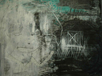 Painting, charcoal and acrylic on canvas, epilogue, 120 x 100 cm