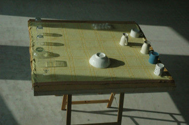 Home sweet home, tafel, tafelkleed met servies, 120 x 70 x 60 cm